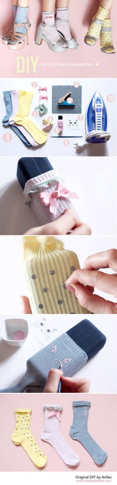 Cute socks DIY // DIY chaussettes mignonnes // Blog mode et DIY Artlex
