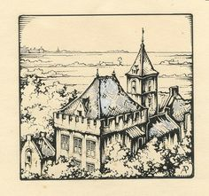 Anton Pieck as a draftsman of Heemsteedse and Haarlem / Bloemendaal scenes / Pieck and bookshops + antiquarian bookshops - - Drawing Sketches, Art Drawings, Illustrator, Anton Pieck, Dutch Painters, Ex Libris, Painting & Drawing, Fairy Tales, Vintage World Maps