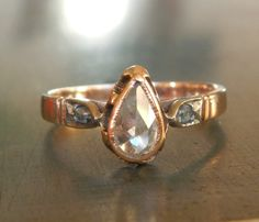Antique Engagement Ring with Rose Cut Diamonds from 1800s Antique