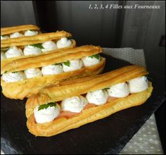 Eclair with smoked salmon and its whipped cream with garlic cheese and fine herbs - 4 girls in the kitchen - Trend Holidays Recipes 2019 Pumpkin Pie Cheesecake, Chocolate Cheesecake Recipes, Easy Cheesecake Recipes, Best Cheesecake, Eclairs, Easter Recipes, Holiday Recipes, Eclair Recipe, Garlic Cheese