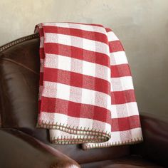 "BUNGALOW CHECK THROW -- Casting coveted cabin-esque chic on any holiday setting from lodge to loft, our rustic wool throw is twill-woven in a bodacious buffalo check with blanket-stitched edges. Dry clean. Imported. Exclusive. Approx. 64""W x 80""L."