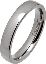 4mm Classic Court Polished Titanium Wedding Ring