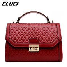 1cc7b18bf0 CLUCI Luxury Fashion Women Handbag Genuine Leather Bag Brand Small Plaid Wine  Red Women s Shoulder Bag