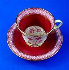 Deep Red Chintz Paladin China Fenton Tea Cup and Saucer Set