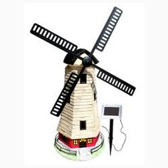 @Overstock.com - Large Windmill Light House Solar Light - Solar windmill lighthouse for gardens and landscapes  2 Super Bright Amber LEDs provides a warm, inviting glow 2 1.2V AA NiCad rechargeable batteries