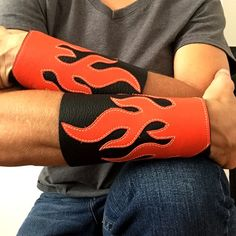 Real leather men's bracelets arm bracers orange flames on black biker cuffs wristbands armbands gift for men man. Leather Bracers, Leather Cuffs, Leather Jewelry, Real Leather, Leather Men, Bracelets For Men, Cuff Bracelets, Bangles, Hip Hop Costumes