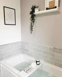 Yes please 🙏⛲ We still need to put a photo in the frame but to be honest I keep forgetting, and it has not exactly been a priority! 🐳 🐳 🐳 🐳 🐳 🐳 🐳 🐳 Print: Bathtray: Artificial plant and pot: Photo frame: Pebbles: Family Bathroom, Bathroom Kids, Bathroom Design Small, Bathroom Inspo, Bathroom Interior Design, Bathroom Inspiration, Lilac Bathroom, Moroccan Bathroom, Picture Ledge