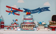 Fascinantes ideas para baby shower de tema aviones