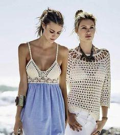 B Crochet Fabric, Crochet Tunic, Crochet Clothes, Crochet Lace, Diy Clothes, Crochet Hooks, Crochet Bikini, Image Summer, Look Boho