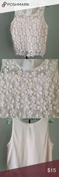 """LA HEARTS CROCHET TANK TOP Details - Ivory with Flower Designs  - Fabric Attached at Top Portion to Give Coverage  - Size S -  Approx. 18"""" from Bottom of Strap to Bottom of Hem,  18"""" Flat Pit to Pit - In Great Condition   Fiber Content Dress: 50% Cotton, 33% Polyester,  17% Rayon LA Hearts Tops Tank Tops"""