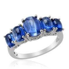 Liquidation Channel: Himalayan Kyanite 5 Stone Ring in Platinum Overlay Sterling Silver (Nickel Free)