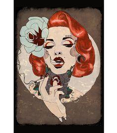 Lowbrow Smoking Hot Art Print by Artist Amy Dowell. Lowbrow Art Company Smoking Hot tattoo art print by artist Amy Dowell. Art print size x x cm). Canvas Art Prints, Framed Art Prints, Fine Art Prints, Poster Prints, Rockabilly Pin Up, Art Flash, Kunst Tattoos, Art Tattoos, Sleeve Tattoos