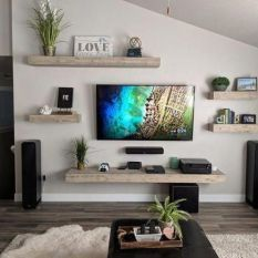 Incredible TV Wall Design And Decoration Ideas You Need To See » Engineering Basic Living Room Entertainment Center, Living Room Tv Unit, New Living Room, Tv On Wall Ideas Living Room, Entertainment Wall, Floating Entertainment Center, Living Room Wall Shelves, Floating Living Room Shelves, Living Room Decor Around Tv