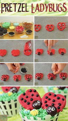 How to Make Pretzel Ladybugs   From OhNuts.com