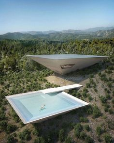 Experimental Architecture: Inverted Pyramid House Set into a Spanish Hillside Futuristic Architecture, Residential Architecture, Amazing Architecture, Contemporary Architecture, Landscape Architecture, Interior Architecture, Japanese Architecture, Futuristic Houses, Contemporary Design