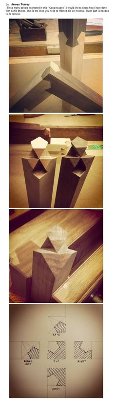 Kawai tsugite joint. Maybe, after many years of pratice, I can do this set of cuts. Wow, what a design.: