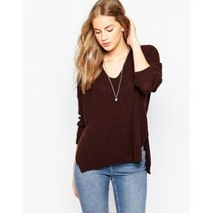 ASOS Ultimate Chunky Sweater With V Neck featuring polyvore, fashion, clothing, tops, sweaters, chocolate, acrylic v neck sweater, lightweight v neck sweaters, asos tops, lightweight sweaters and chunky knit sweater