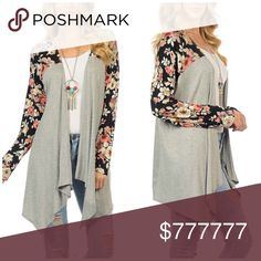 ❗️Last One❗️Floral Open Cardigan Host Pick 10/22 Sunday FundayPerfect for fall, you'll love this gray & black floral cardigan! It features elegant draping side tails and a charming pattern that adds visual intrigue to this cute open cardigan! This will look perfect paired with your favorite distressed jeans & boots!  Made in the USA  Goo Yoo Tops