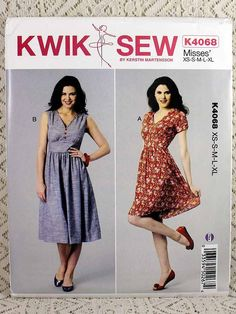 Kwik Sew 4068, Misses' Dress Sewing Pattern, V-neckline Dress Pattern, Kwik Sew K4068, Misses' Size XS - XL, Uncut by Allyssecondattic on Etsy