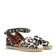 Valentino Rockstud Double Calf Hair And Leather Espadrilles