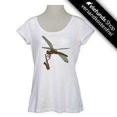 #Green-Shirts - #Libellensaxofon - Frauen T-Shirt - weiß - 32,40€ - 100% organic cotton and fairtrade - Versand kostenlos