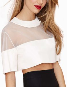 White Round Neck Sheer Mesh Crop Top - abaday.com