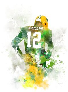 Aaron Rodgers ART PRINT illustration Green Bay by SubjectArt