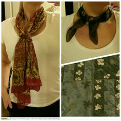 """Two beautiful scarves Two scarves!  -Red, gold, brown, black and animal print scarf. Long length. -Smaller floral scarf is 18"""" ? 20"""". Accessories Scarves & Wraps"""
