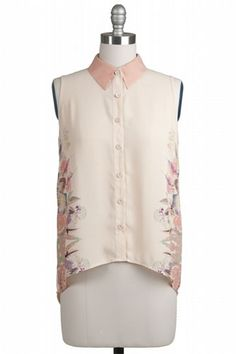Floral Sleeveless Top With Collar $35 at www.repeatpossessions.com