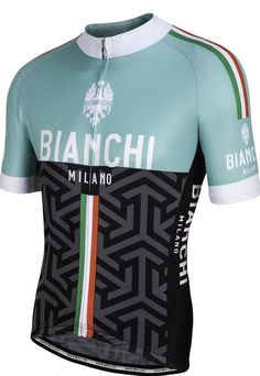 Bianchi-Milano Pontesei Short Sleeve Cycling Jersey - Summer Collection 2017 Bianchi Milano Pontesei full-zip jersey not only looks great with its geometric design, but gives you all of the technical