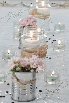 DIY - Small flower vases with cans! 20 ideas insp - flower ideas - DIY – Small flower vases with cans! 20 ideas insp DIY – Small flower vases with cans! Wedding Centerpieces, Diy Wedding Decorations, Pink Table Decorations, Centerpiece Ideas, Table Centerpieces, Vintage Decorations, Decor Wedding, Valentine Decorations, Rustic Wedding