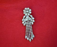 Vintage Rhinestone Brooch with Flower and Dangles via Etsy