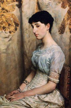 Portrait of Miss Alice Lewis Sir Lawrence Alma-Tadema - 1884 Lawrence Alma Tadema, Alice, John Everett Millais, Academic Art, Victorian Art, Victorian Paintings, Inspirational Artwork, Portrait Art, Portrait Paintings