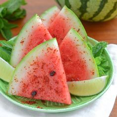 Watermelon with Chile, Salt & Lime by thekitchn:The zesty combination of chile, salt, and lime is fantastic on other fruits like pineapple, cantaloupe, mango, papaya, and cucumber. #Watermelon #Chile #Lime #Salt #Light