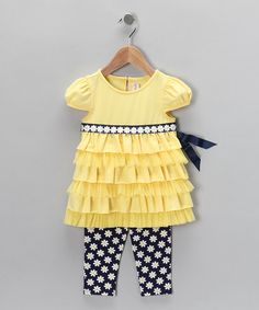 Take a look at this Yellow Tunic & Daisy Leggings - Toddler & Girls by Sweet Heart Rose on #zulily today!