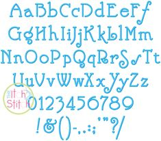 "I2S Nick Embroidery Font in sizes 1"", 1.5"", 2"" and 2.5"", numbers and partial punctuation included"