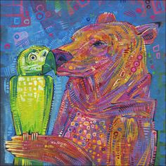 A bear and a parrot kissing.
