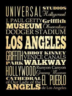 Los Angeles, California, Typography Art Poster / Bus/ Transit / Subway Roll Art 18X24-Los Angeles' Attractions Wall Art Decoration-LHA-207 on Etsy, $44.95