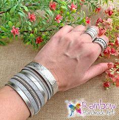 Handmade jewelry and more! Handmade Bracelets, Handmade Jewelry, Ring Bracelet, Handmade Art, Silver Bracelets, Rainbow, Rings, Silver Cuff Bracelets, Rain Bow