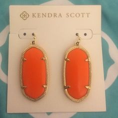 """Kendra Scott """"Elle"""" earring in Orange Worn once or twice. Perfect condition, just prefer the Danielle's. Only looking to sell, not trade. Kendra Scott Jewelry Earrings"""