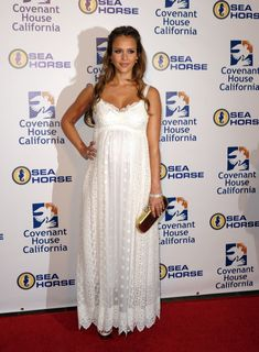 Jessica Alba Maternity Dress.  Jessica Alba looked stunning at the Covenant House California 2011 Gala and Awards dinner in a summery white lace Dolce & Gabbana gown.  Brand: Dolce & Gabbana