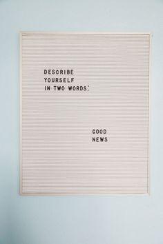 Good news.