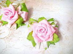 Нарядные резинки бантики канзаши из лент МК /  hair clips ribbon kanzashi DIY - YouTube