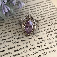 Vintage Sterling Silver Filigree Amethyst Ring // Antique Style Marquise Solitaire Ring // US Size 10 by SiBonTreasures on Etsy