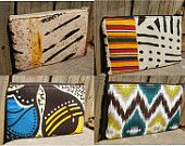 Tribal and African inspired rectangular mini pouch or wallet