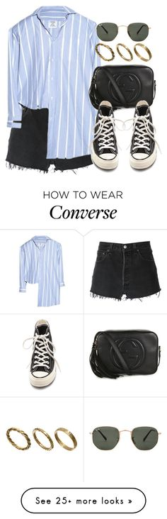 """""""Sin título #12517"""" by vany-alvarado on Polyvore featuring RE/DONE, Vetements, Gucci, Converse, Ray-Ban and Made"""