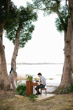 Outdoor Wedding Ceremonies Entertainment - outdoor piano for the ceremony and cocktail hour? - Planning an outdoor wedding ceremony? These wedding ceremony ideas are unique, unexpected, and will make your big day even more special! Wedding Ceremony Ideas, Pond Wedding, Outdoor Wedding Decorations, Outdoor Ceremony, Wedding Events, Wedding Ceremonies, Wedding Aisles, Wedding Backdrops, Ceremony Backdrop