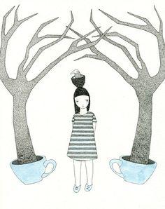 by myfolklover/Catherine Campbell - nice drawing of a girl with tea cup trees!