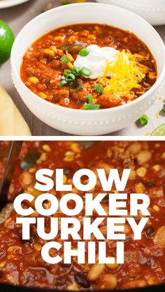 This Slow Cooker Turkey Chili is the best turkey chili with fresh vegetables and lean meats! This will be your go-to recipe for busy weeknights. Save this pin for a perfectly seasoned hearty soup for the soul recipe! recipes with ground beef Low Carb Dinner Recipes, Healthy Recipes, Chili Recipes, Slow Cooker Recipes, Crockpot Recipes, Soup Recipes, Chicken Recipes, Cooking Recipes, Keto Recipes