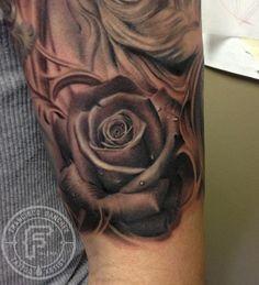 Tattoos - black and grey rose tattoo - 87148